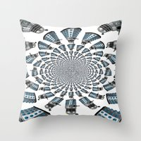 dalek Throw Pillows featuring Dalek by Natasha Lake