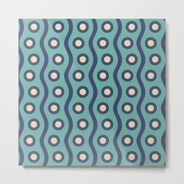 Mid Century Modern Rising Bubbles Pattern Turquoise and Blue Metal Print