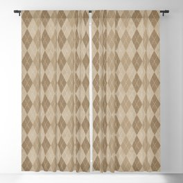 Textured Argyle in Tan and Beige Blackout Curtain
