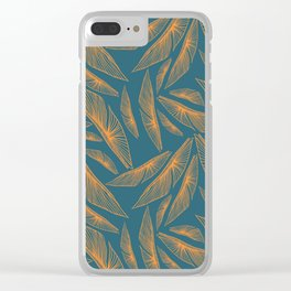 Feathered Leaf Pattern Clear iPhone Case