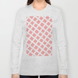 Coral Pink & White Diagonal Grid Pattern- Black & Pink - Mix & Match with Simplicity of Life Long Sleeve T-shirt