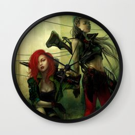 Hot pepper - Sci-fi soldier girls with weapons Wall Clock