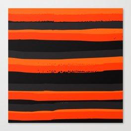 Horizontal Orange and Black Stripes Pattern Minimal Abstract Canvas Print