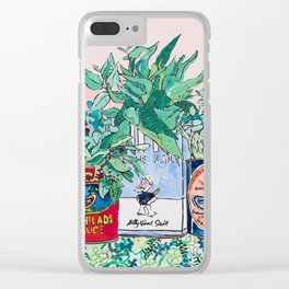 Jungle Botanical in Colorful Cans on Pink - Still Life Clear iPhone Case