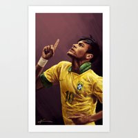 neymar Art Prints featuring Neymar Jr. by apfelgriebs