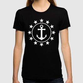 White Anchors & Stars Pattern on Navy Blue T-shirt