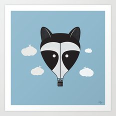 Hot Air Raccoon Art Print