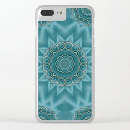 Wood and stars in the blue pop art Clear iPhone Case