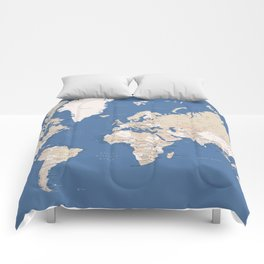 Blue and brown world map with cities Comforters