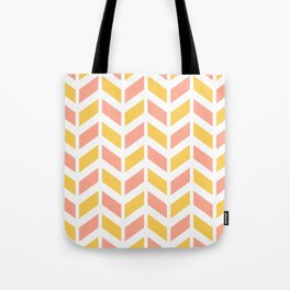 Yellow, light coral and white chevron pattern Tote Bag
