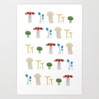 Mushroom Pattern Art Print