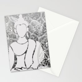 Buddha Mandala Meditation grey #buddha #artwork Stationery Cards