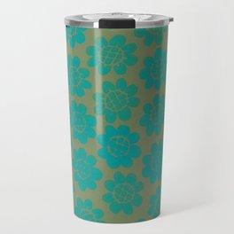 Teal Velvet Flowers Travel Mug