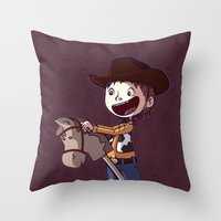 toy story Throw Pillows featuring Woody Toy Story by Kaori