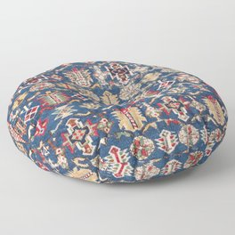 Royal Blue Western Star 19th Century Authentic Colorful Dusty Blue Yellow Vintage Patterns Floor Pillow
