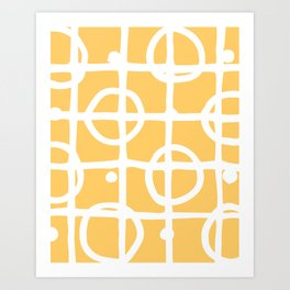 Yellow White Circle Squares Art Print