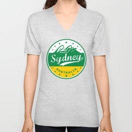 Sydney City, Australia, circle, green yellow Unisex V-Neck