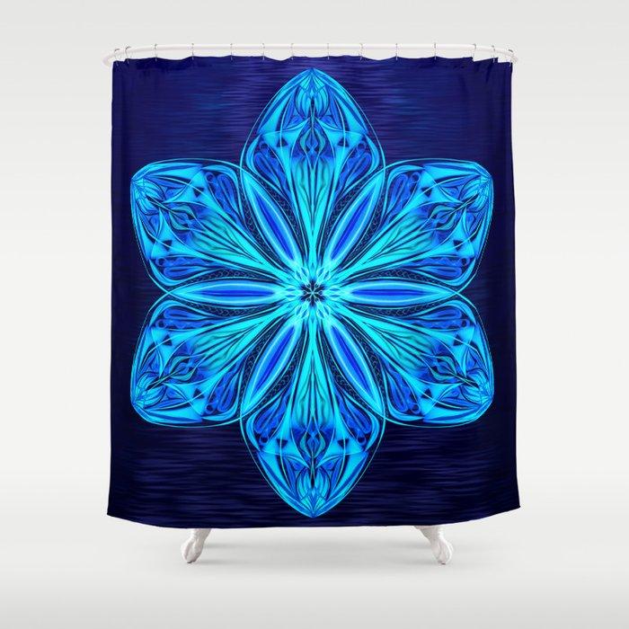 Snowy Cerulean Sea Shower Curtain