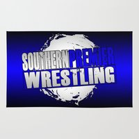 wrestling Area & Throw Rugs featuring Southern Premier Wrestling Logo by SPW Tees