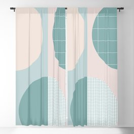 Circles on the grid 2 - Lagoon & pink - mix & match collection Blackout Curtain