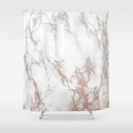 Rosey Marble Shower Curtain