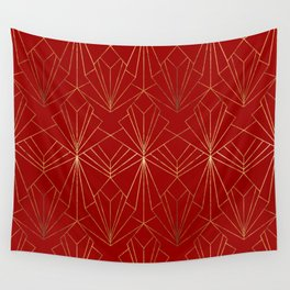 Crimson Red Art Deco Wall Tapestry