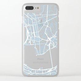 Street MAP Hong Kong // Blue Clear iPhone Case