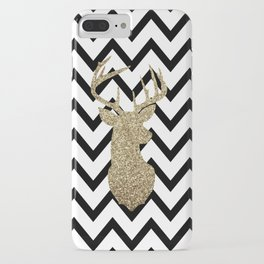 Glitter Deer Silhouette with Chevron iPhone Case