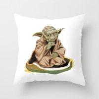 yoda Throw Pillows featuring Yoda by Rocío Gómez