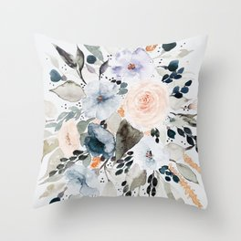 Loose Blue and Peach Floral Watercolor Bouquet  Throw Pillow