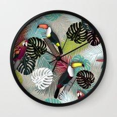 Tropical Birds (Color 2 - Bold) Wall Clock