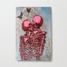 Kissing Skeletons  Metal Print