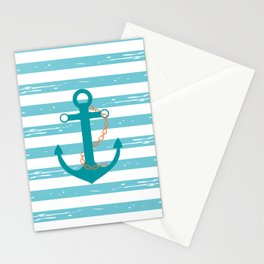 AFE Nautical Teal Ship Anchor Stationery Cards