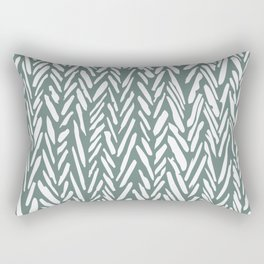 Herringbone pattern - moss green and white Rectangular Pillow