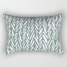 Boho chevron herringbone pattern - moss green and white Rectangular Pillow