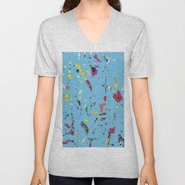 Ocean blue surf, abstract sea life, fiber art mixed media digital Unisex V-Neck