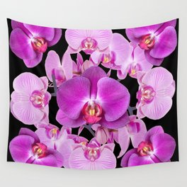 Purple & Pink Butterfly Orchids On Black Art Wall Tapestry