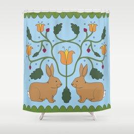 Rabbits in the Garden Folk Art Shower Curtain