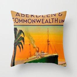 Vintage Aberdeen & Commonwealth Line Travel Poster England to Australia Throw Pillow