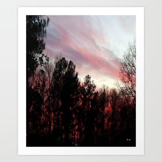 Blood red sunset Art Print