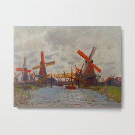 Claude Monet Impressionist Landscape Oil Painting Mills at Westzijderveld near Zaandam Metal Print