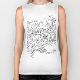 Very detailled surrealism sketchy doodle ink drawing Biker Tank