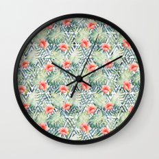 Tropical Tribal Hibiscus Floral Wall Clock