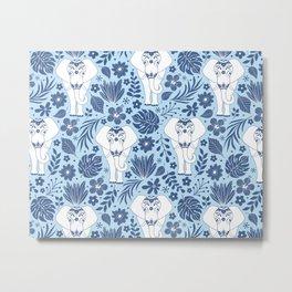 Peaceful Elephants on Blue Metal Print