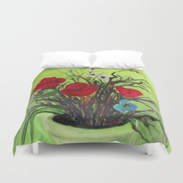 Pickings of Poppies and a Pansy with a  POP of COLOR   Duvet Cover