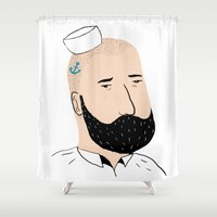 sailor Shower Curtains featuring sailor by Aaron Cushley