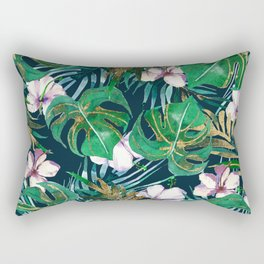 Tropical forest green lilac gold monster leaves floral Rectangular Pillow