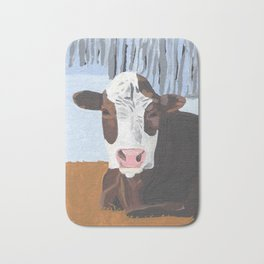 Cow In The Winter Bath Mat