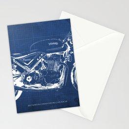 Blueprint, Norton Commando Cafe Racer, original art,bike poster Stationery Cards