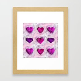 Pink Passion colorful heart pattern Framed Art Print